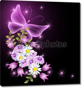 Цветы и прозрачной бабочка