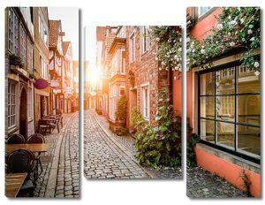 Старый город в Европе на закате с ретро годом изготовления вина фильтрует эффект