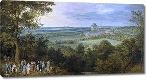 Ян Брейгель (Старший). Эрцгерцог на охоте. Пейзаж с замком Маримонт