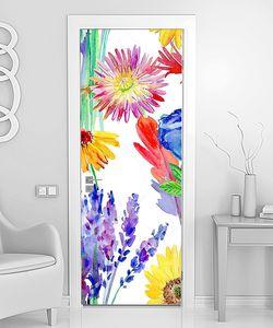 Разноцветные рисованные цветы