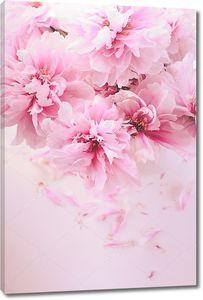 Розовые пионы в вазе с лепестками