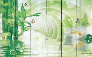 Зеленый тоннель с  бамбуком, большой белый цветок, мыльные пузыри, бабочки
