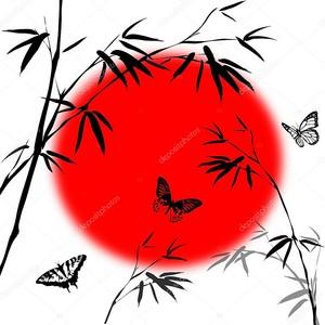 Ветви бамбука и солнечный диск
