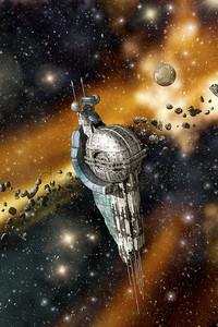 Космическая станция и астероиды