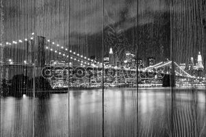 Бруклинский мост в черно-белом