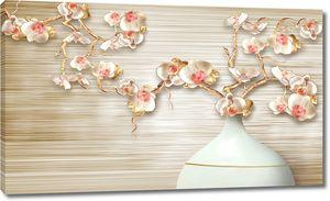 Ваза с цветами на длинных стеблях