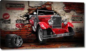 Красная  ретро машина