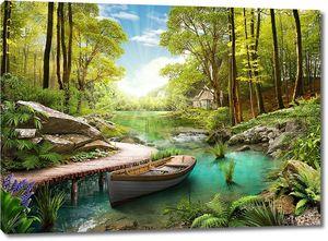 Лодка на реке в лесу