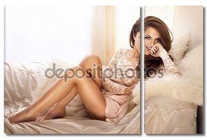 beautiful young woman wearing lace dress