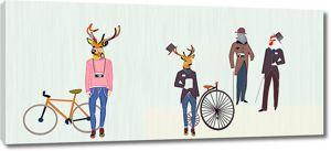 Люди-звери с велосипедами