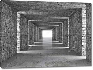 абстрактный тоннель серый кирпич