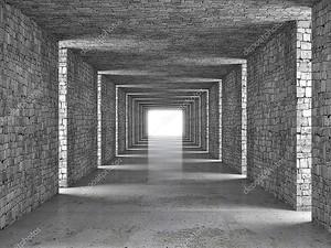 Абстрактный тоннель серого кирпича
