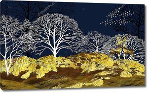 Синий фон с золотым холмом и двумя оленями
