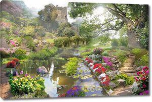 Река в цветах в красивом парке