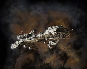 межзвездный фрегат и Туманность