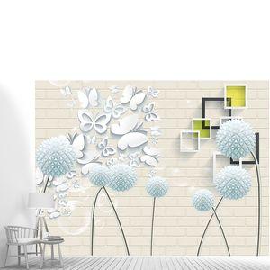Кирпичная стена, круглые бумажные цветы, белые бабочки из бумаги