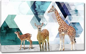 Жираф и пятнистые олени