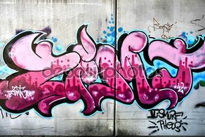 розовые граффити