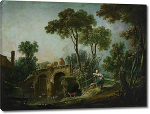 Франсуа Буше. Пейзаж с мостом