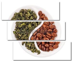Зеленый крупнолистовой чай и кофе в зернах в Инь Ян в форме пластины, iso