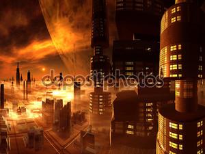 Обзор будущего города от небоскреба Башня