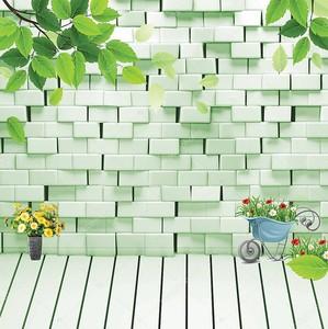 Кирпичная стена с зеленой подсветкой,  цветы в кашпо