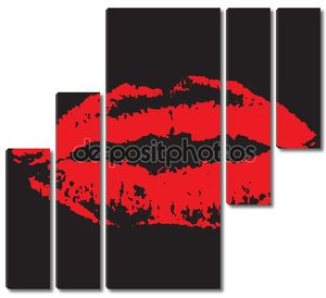 Красные губы на черном фоне