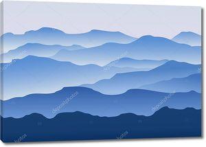 Силуэт горы утром