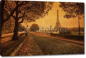 Винтажном стиле картина Просмотр улиц в Париже