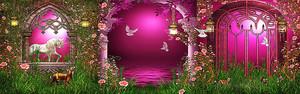 Единорог в розовых арках