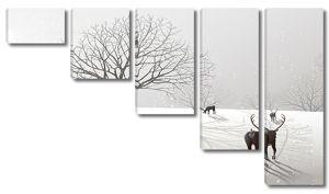 Олени в снежном поле