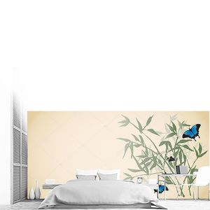 Голубые бабочки порхают над молодыми побегами бамбука