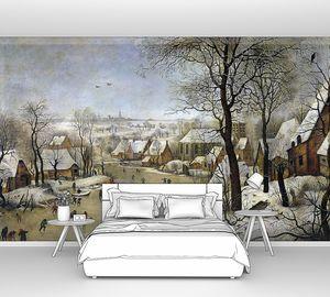 Питер Брейгель (Младший). Зимний пейзаж с фигуристами и ловушкой для птиц