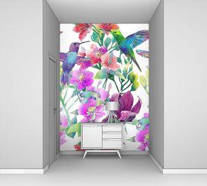 Экзотические цветы и птицы
