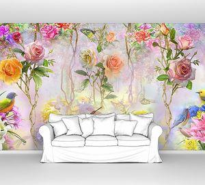 Розы, птицы и бабочки