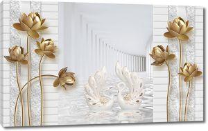 Два лебедя и золотые кувшинки