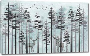 Пара оленей в сосняке