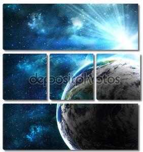 Планета с вспышкой солнца, абстрактный фон