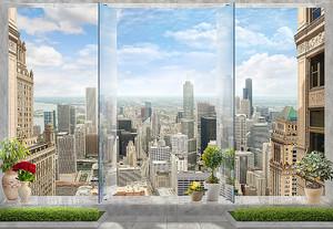 Вид из окна на современный город