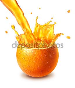 Оранжевые фрукты разрезать пополам, с соком всплеск в середине
