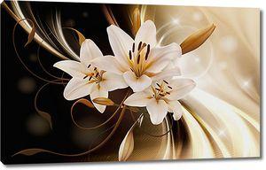 Лилии с тканью в коричневых оттенках