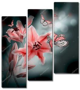Лилии и бабочки