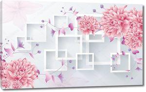Прямоугольные рамки, большие розовые пионы