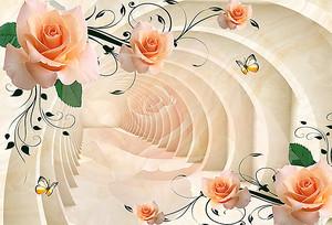 Персиковые розы на фоне арочного тоннеля