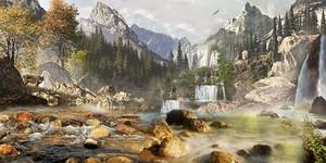 Панорама со скалами и водопадами