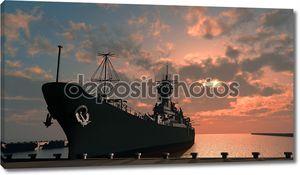 Корабль в гавани на закате