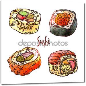 Японские традиционные суши кухня