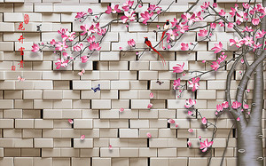 Дерево у кирпичной стены