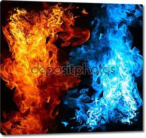 Красный и синий огонь