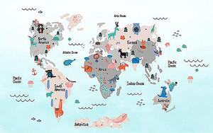 Карта мира с голубым градиентом